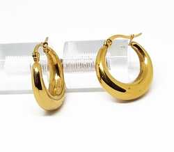 4-2108-f210 18kt Gold Layered Over Stainless Steel Puff Hoop Earrings. 6mm thick by 23mm diameter.