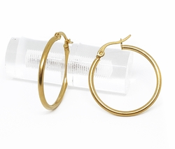 4-2118-f210 18kt Gold Layered Over Stainless Steel Classic Satin Finish Hoop Earrings. 2mm wide by 28mm Diameter.