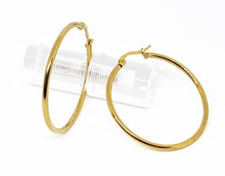 4-2119-1-f210 18kt Gold Layered Over Stainless Steel Classic Finish Hoop Earrings. 2mm wide by 40mm Diameter.