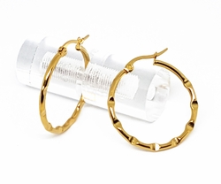 4-2125-f10 18kt Gold Layered Over Stainless Steel Classic Hammered Tube Hoops. 2mm wide by 30mm diameter.
