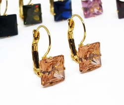 4-2130-f10 18kt Gold Layered Over Stainless Steel Square Colored CZ Drop Earrings. 1 inch.