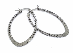 4-2131-f10 Stainless Steel 25mm Oval Hoops. 40mm Long with Flat Rope Design.