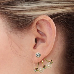 """4-2139-e7 Invisible Crystals Earrings. Gold Plated over Stainless Steel. 1.25"""""""