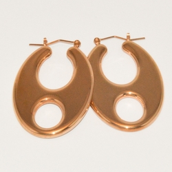 4-2143-e3 Ladies Rose gold Plated Flat Designer Hoops