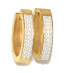 4-2156-D1 Gold Plated Stainless Steel Pearl Huggies