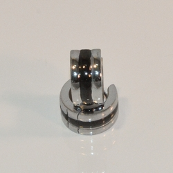 4-2160-e8 Stainless Steel with Black Stripe huggies. 7x13mm.