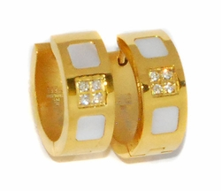 4-2187-D1-GLD Ladies Gold Plated Stainless Steel Huggies (Mother of Pearls)