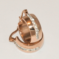 4-2211-e1 Ladies Small Rose Gold Plated CZ Hoops