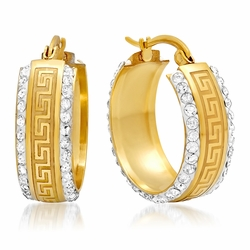 4-2212-e110 Stainless Gold Plated Greek Design Hoop Earrings with Stones. 9mm wide, 24mm diameter.