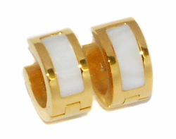 4-2216-D1-GLD Ladies Gold Plated Stainless Steel Huggies (Mother of Pearl)