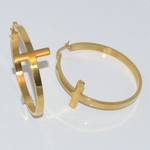 4-2217-d1 Stainless Steel Gold Plated Cross Hoops