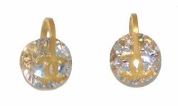 4-2240-D1-GLD Gold Plated Stainless Steel CZ Stud Earrings