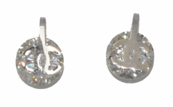 4-2240-D1-WHT Stainless Steel CZ Stud Earrings