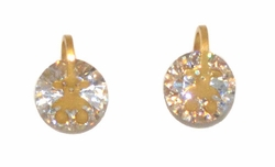 4-2242-D1-GLD Gold Plated Stainless Steel CZ Stud Earrings