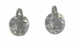4-2242-D1-WHT Stainless Steel CZ Stud Earrings