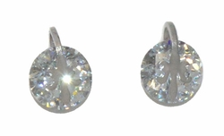 4-2246-D1-WHT Stainless Steel CZ Stud Earrings