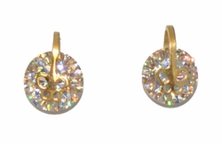 4-2249-D1-GLD Gold Plated Stainless Steel CZ Stud Earrings