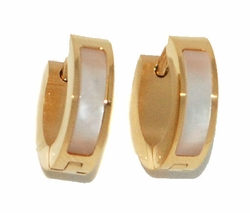 4-2259-D1-GLD Gold Plated Stainless Steel Mother of Pearl Huggies