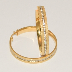4-2259-e1 Ladies Gold Plated Steel Hoops with CZ's