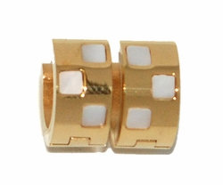 4-2260-D1-GLD Gold Plated Stainless Steel Mother of Pearl Huggies