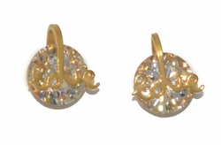 4-2270-D1-GLD Gold Plated Stainless Steel CZ Stud Earrings