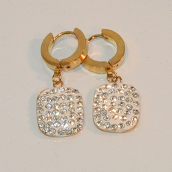 """4-2273-e8 Stainless Huggies with Gold Plating. Hanging Cube Charm with stones. Hoops are 3x13mm and 1.25"""" in length."""