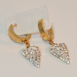 """4-2274-e8 Stainless Huggies with Gold Plating. Hanging Heart Charm. Hoops are 3x13mm and 1.25"""" in length."""