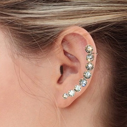 """4-2275-e7 Stainless Rising Crystals Earrings. Available in 2 finishes. 1.75"""""""