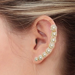 """4-2276-e7 Stainless Rising Pearls Earrings. Available in 2 finishes. 1.75"""""""