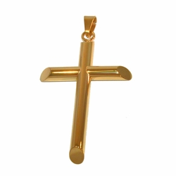 "4-2363-f21 Stainless Gold Plated Large Cross Pendant, 3.75"" length,"