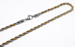 4-3155-f10 316l Stainless Steel Two Tone 4.5mm Rope Chain.