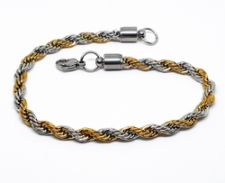 4-3156-1-F10 316l Stainless Steel Two Tone Rope Link Bracelet. 9 inches, 6mm.
