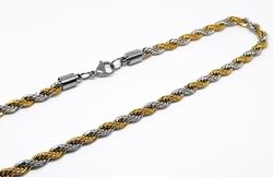 4-3160-f10 316l Stainless Steel Two Tone 6mm Rope Chain.