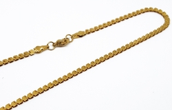 4-3175-f10 Gold Layered Over Stainless Steel Flattened Box Design Necklace. 3mm wide, 18 inches length.