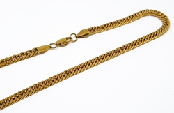 4-3179-2-f10 Gold Layered Over Stainless Steel Double Curblink Necklace. 4mm wide, 24 inches length.