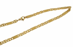 4-3180-f10 18kt Gold Layered Over Stainless Steel Jesus Link Chain. 22 inches, 5mm.