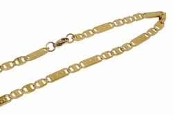 4-3183-1-f10 18kt Gold Layered Over Stainless Steel Jesus Link Chain. 22 inches, 6mm.