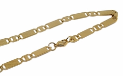 4-3183-f10 18kt Gold Layered Over Stainless Steel Alternative Flat Marine Link Chain. 24 inches, 6mm.