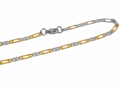 4-3184-f10 18kt Gold Layered Over Stainless Steel Two Tone Alternative Marine Link Chain. 22 inches, 3.5mm.