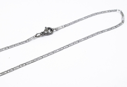 4-3196-f10 316l Stainless Steel Alternative Flat Marine and Crosses Chain. 2mm wide.