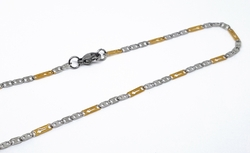 4-3202-1-f10 316l Stainless Steel Two Tone Flat Marine and Crosses Link Chain. 3mm wide, 18 inches length.