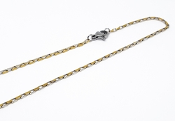 4-3202-f10 316l Stainless Steel Two Tone Open Box Chain. 2mm wide.
