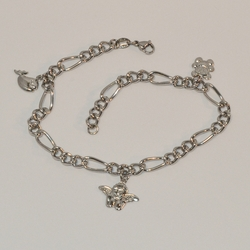 "4-3304-e6 Ladies Stainless Anklet with Bear Angel and Fish Charms. 9.5"". 5mm links."