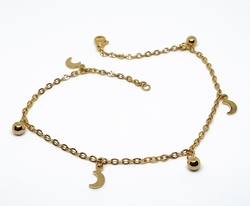 4-3306-f10 18kt Gold Layered Over Stainless Steel 10 inch Charm Anklet. 3mm links, 5mm ball charms.