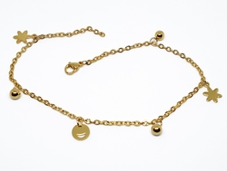 4-3306-f210 18kt Gold Layered Over Stainless Steel 10 inch Charm Anklet. 3mm links, 5mm ball charms.