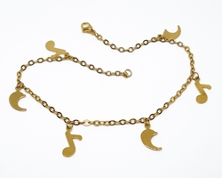 4-3307-f210 18kt Gold Layered Over Stainless Steel 10 inch Musical Charm Anklet. 3mm links, 10mm charms.