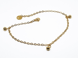 4-3308-f10 18kt Gold Layered Over Stainless Steel 10 inch Charm Anklet. 3mm links, 5mm ball charms.