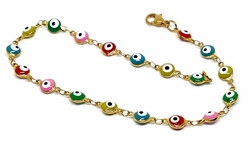 "4-3308-f12 Gold Layered Over Stainlesws Steel 10"" Evil Eye Anklete. 6mm eyes. 2 colors available."