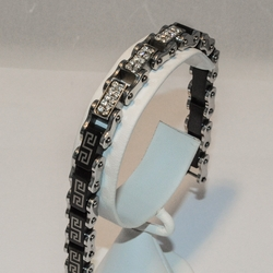 """4-4040-e5 Black Plated stainless Braclelet with CZ's - 8.5"""", 10mm"""