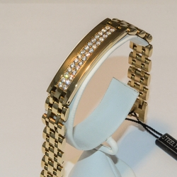 "4-4048-e5 Gold Plated Steel ID Bracelet with CZ's 8.5"", 13mm"